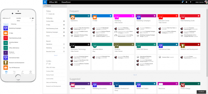 Screenshot of mobile application of SharePoint and the home page SharePoint in Office 365, (2016)