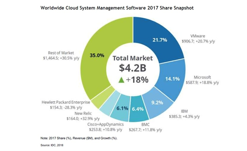 The largest software makers for management of cloud environments, data of IDC for 2017