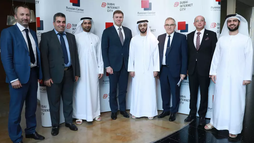 The ambassador of Russia in the UAE Sergey Kuznetsov, the Deputy Minister of Telecom and Mass Communications Mikhail Mamonov, the commercial director of TECOM Abdullah Belkhul, the managing director of DIC Omar Al Malik and the CEO of Al Aroud Group Saleh Al Aroud participated in opening of the Russian center of technology innovations.