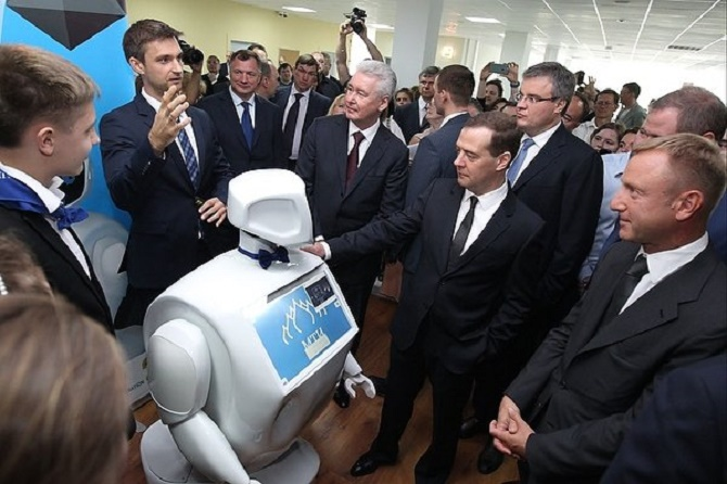 "How are you?"" – Dmitry Medvedev asked the robot."