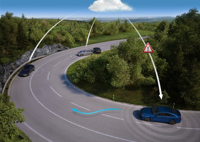 The autonomous car should know what occurs not only in a visibility range, but also behind turn