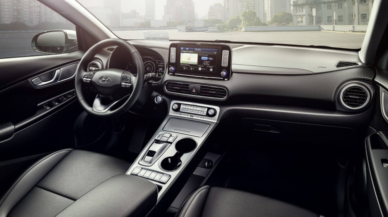The electric vehicle interior little in what differs from the normal version of Hyundai Kona with DVS