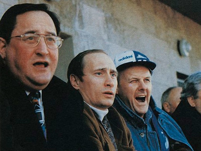 Anatoly Turchak, Vladimir Putin and Anatoly Sobchak during the match of Football Club Zenit. St. Petersburg. the 1990th.