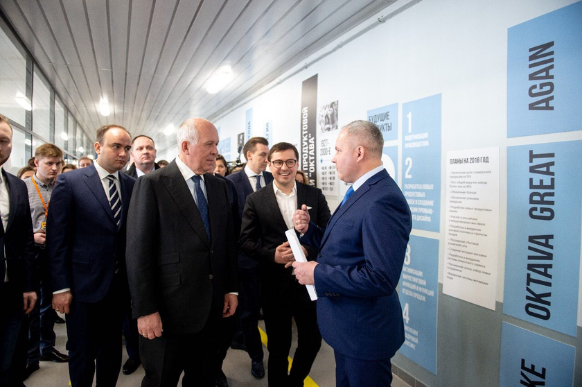Sergey Chemezov took part in opening of a creative industrial cluster Octava and visited the PJSC Octava plant
