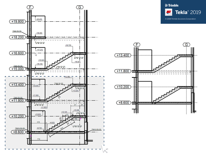 Tekla2019 Clone Selected Stairs